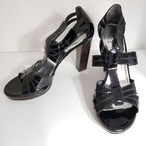 Stuart Weitzman Black Patent Leather Strappy Heels